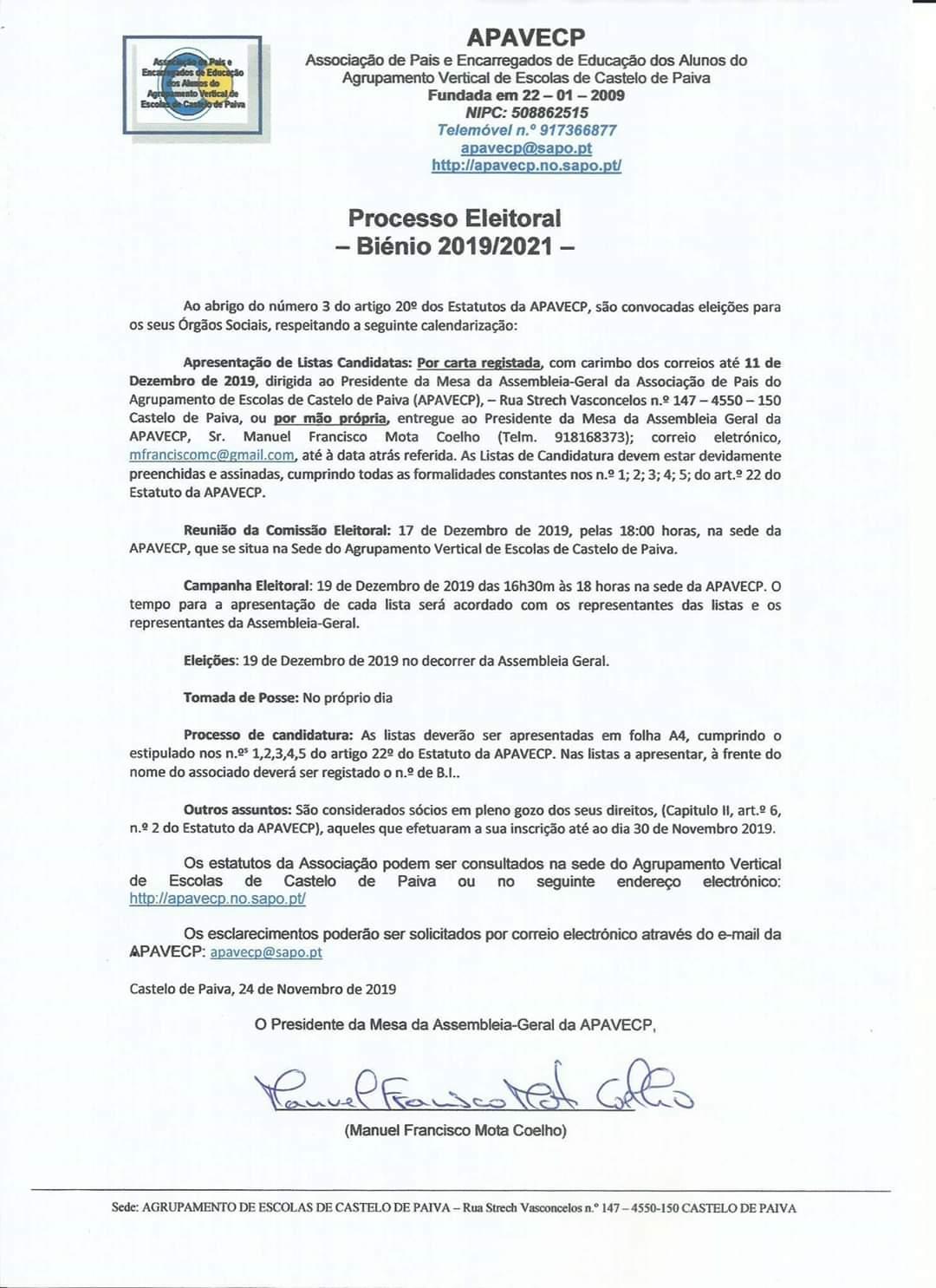 ASSOCIAÇÃO DE PAIS e E.E. do AGRUPAMENTO DE ESCOLAS DE C. PAIVA- APAVECP - PROCESSO ELEITORAL