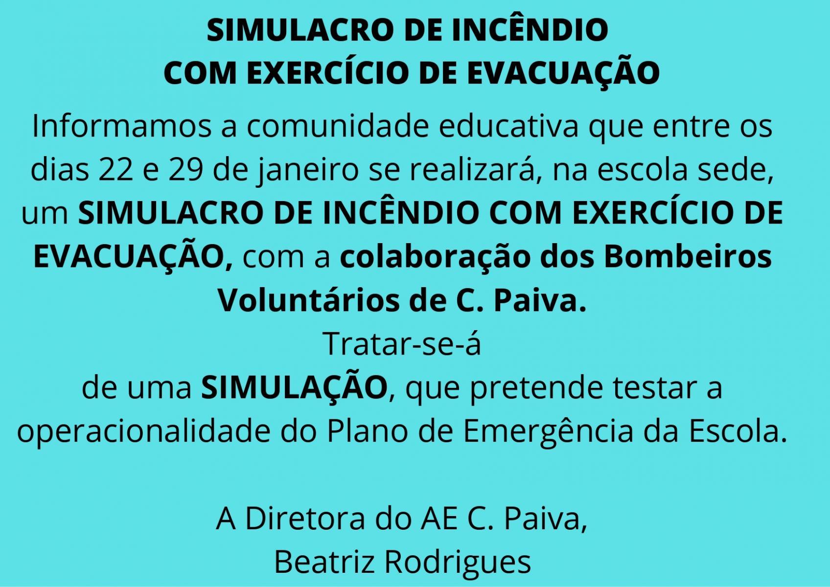 SIMULACRO DE INCÊNDIO COM EXERCÍCIO DE EVACUAÇÃO