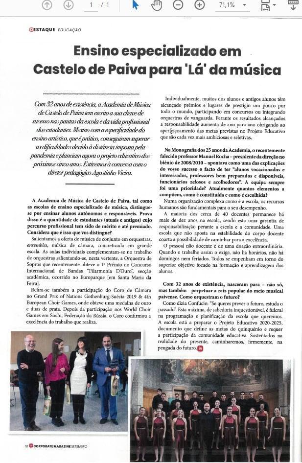PONTUAÇÃO MÁXIMA NA AVALIAÇÃO DO ENSINO ARTÍSTICO ESPECIALIZADO, OBTIDA PELA ACADEMIA DE MÚSICA DE CASTELO DE PAIVA